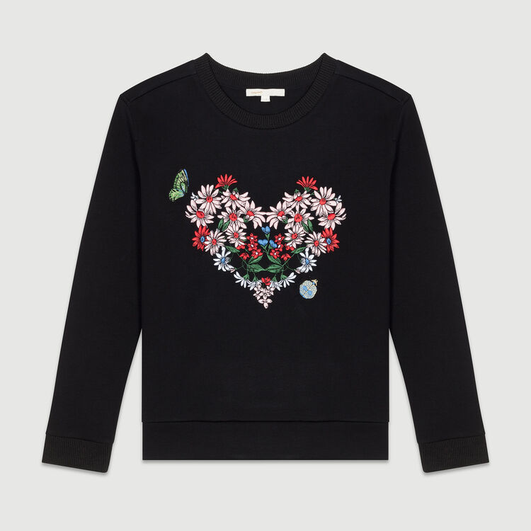 Sweatshirt with heart embroidery : T-Shirts color Black 210