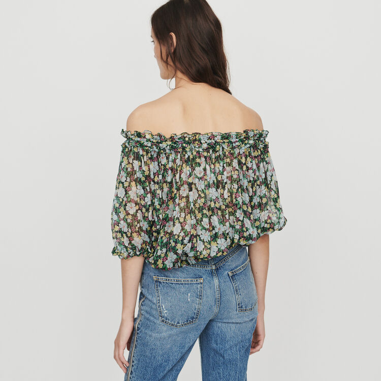 Smocked top in floral print : Tops & Shirts color Printed