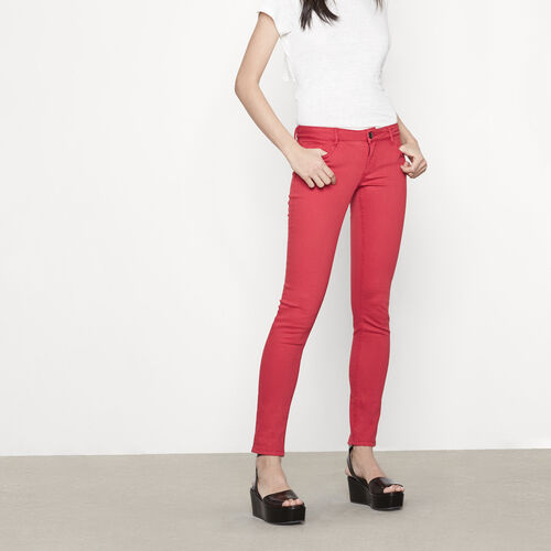 Skinny jeans with embroidery : Trousers & Jeans color Terracota Tiles