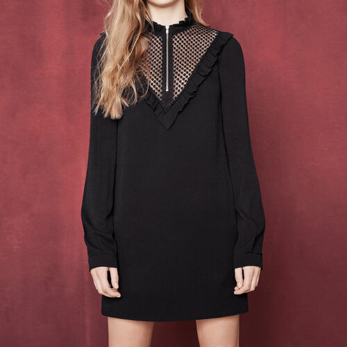 Short dress with ruff collar : Dresses color Black 210