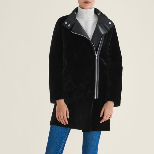 Sheepskin coat : Coats color Black 210