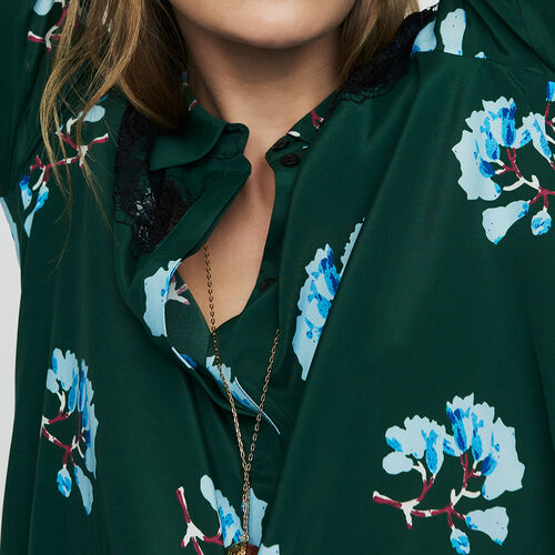 Printed blouse with lace : Ready to wear color Print