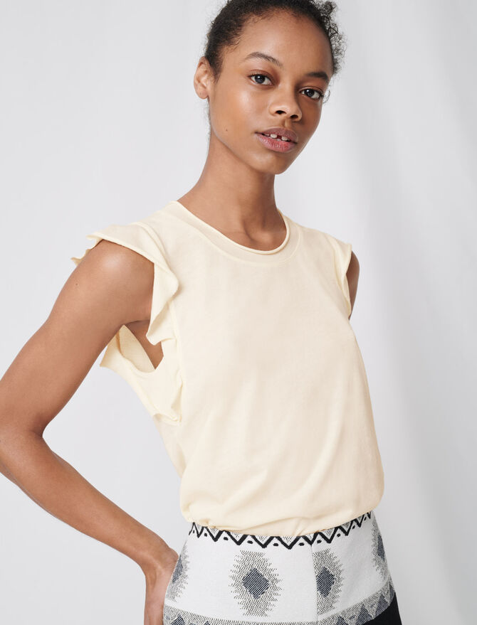 Sleeveless top with ruffles -  - MAJE
