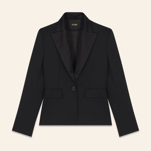 Wool blend tailored jacket : Jackets & Blazers color Black 210
