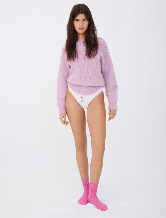 Flower embroidered cotton knickers : Maje x Poppy Undies color White