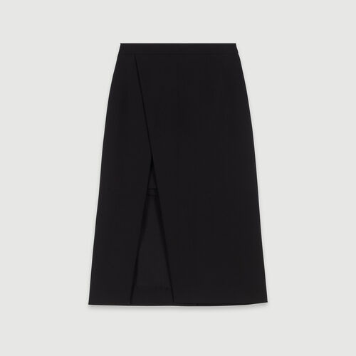 Calf-length split pencil skirt : Skirts & Shorts color Black