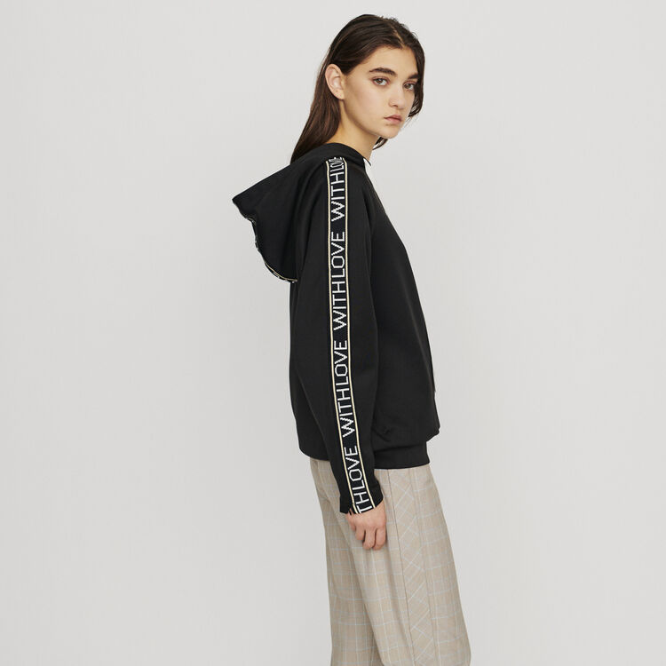 Hooded sweat-shirt withslogan band : Knitwear color Black 210