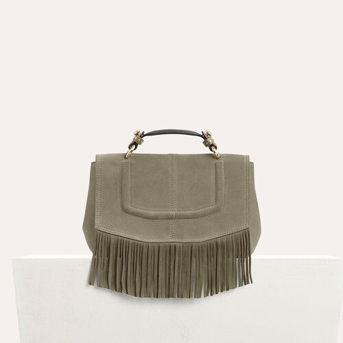 Mini satchel in suede with fringe : Shop by color Khaki