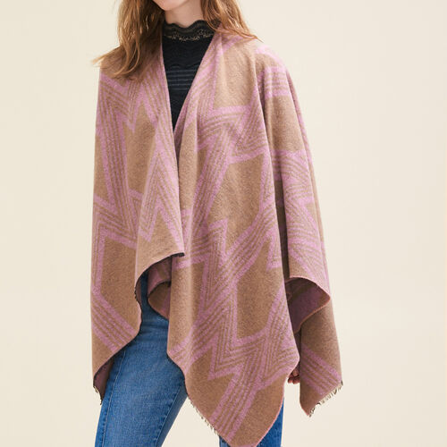Poncho with M print : Scarves color Pale Pink