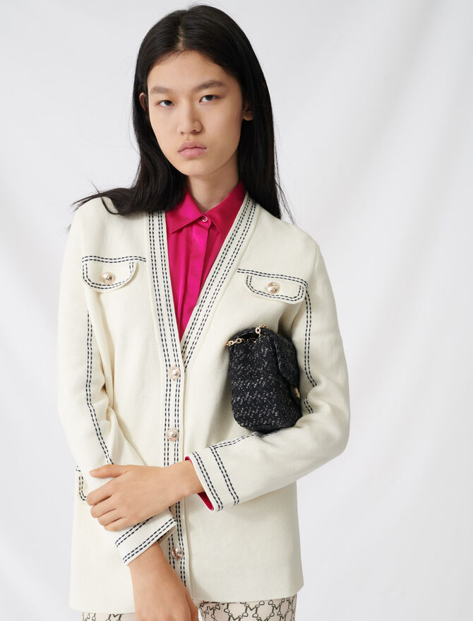Cardigan with contrasting topstitching - Knitwear - MAJE