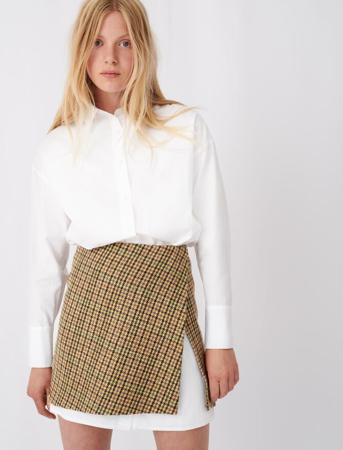 Dress in contrast check poplin - All the collection - MAJE