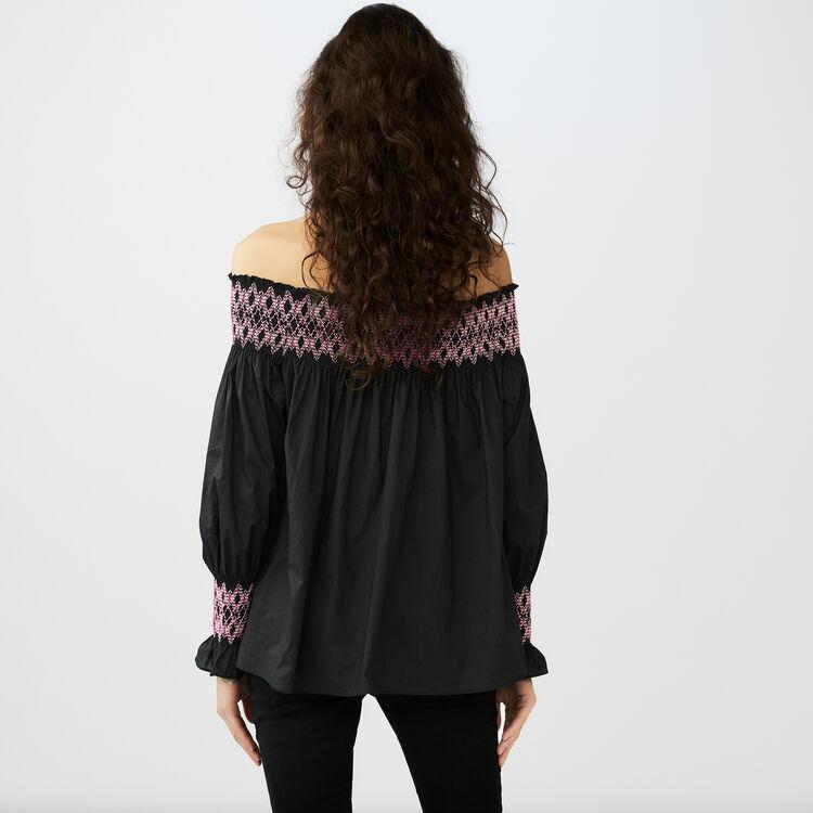 Smocked cold shoulder top : Tops color Black 210