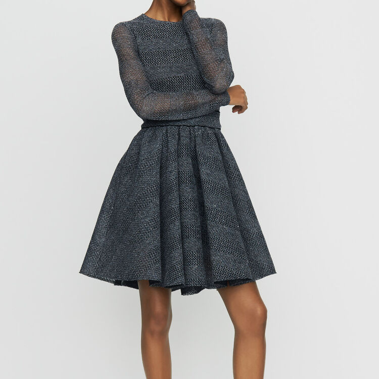 Skater dress in basketweave knit : Ready to wear color Grey