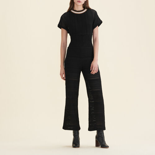 Fine knit jumpsuit : Trousers & Jeans color Black 210