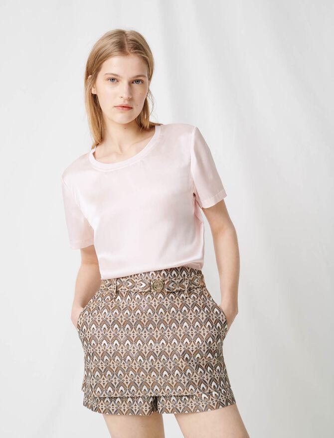 Material mix cotton and silk T-shirt - T-Shirts - MAJE