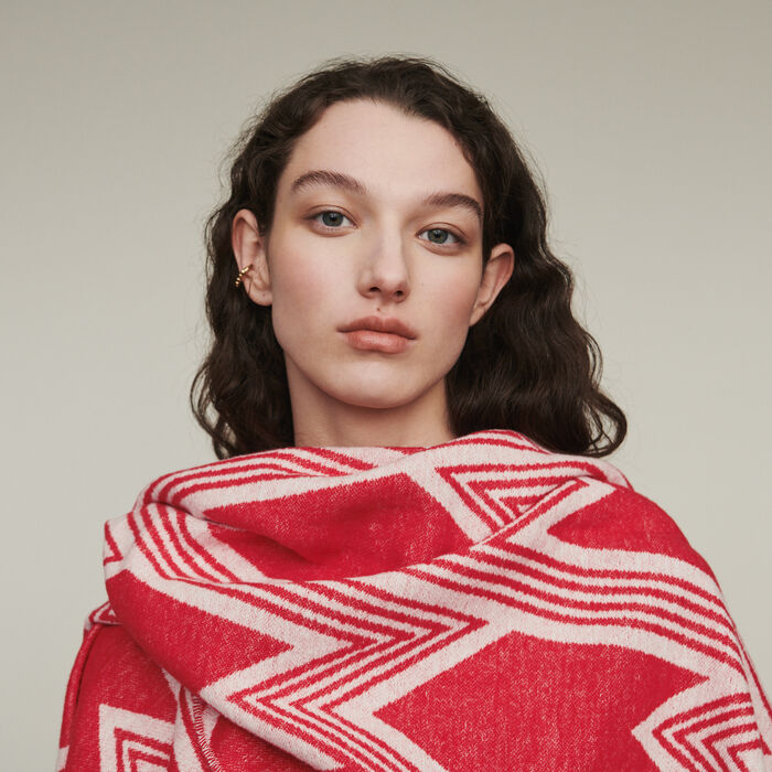 Poncho with M art deco motif : Shawls & Ponchos color Red