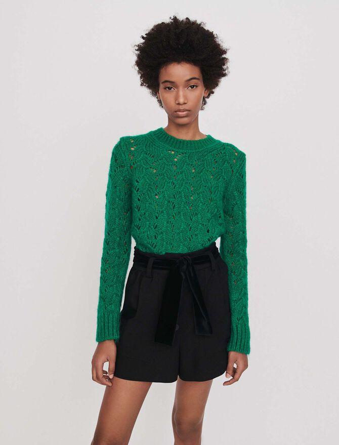 Belted velvet shorts - Pre_Soldes_Jupes_Shorts - MAJE