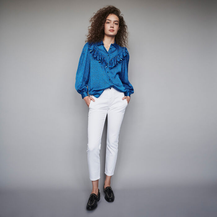 Printed silk ruffled shirt : Tops & Shirts color Blue