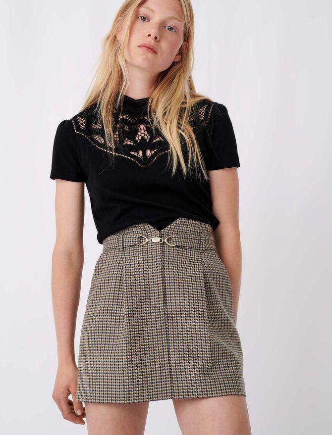 T-shirt with lace collar details - tout voir - MAJE