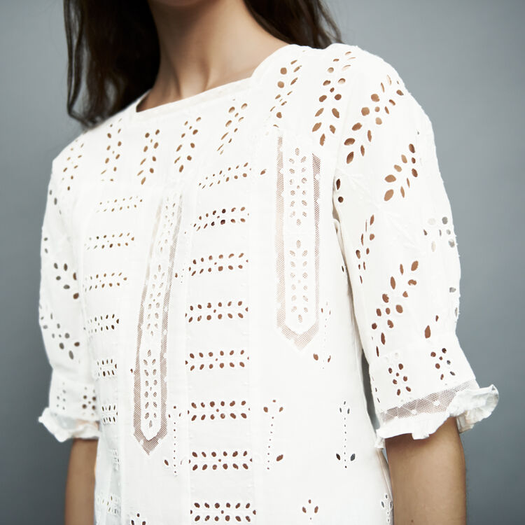 Embroidered cotton top : Tops color White