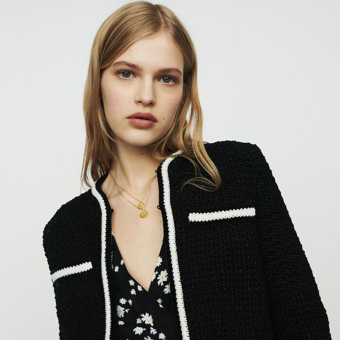 Cropped wool cardigan : Knitwear color Black 210