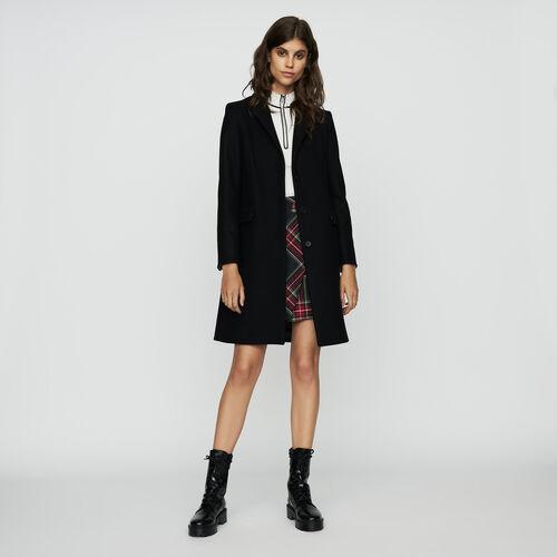 Straight coat in virgin wool : Ready to wear color Black 210