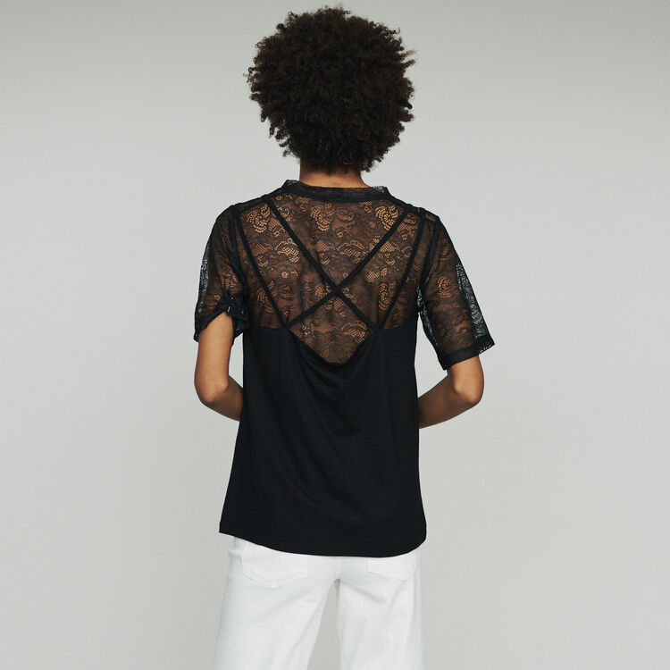 Trompe l'oeil top with lace : See all color Black 210
