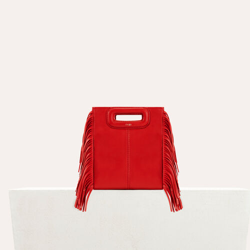 Fringed suede M minibag : M bags color RED