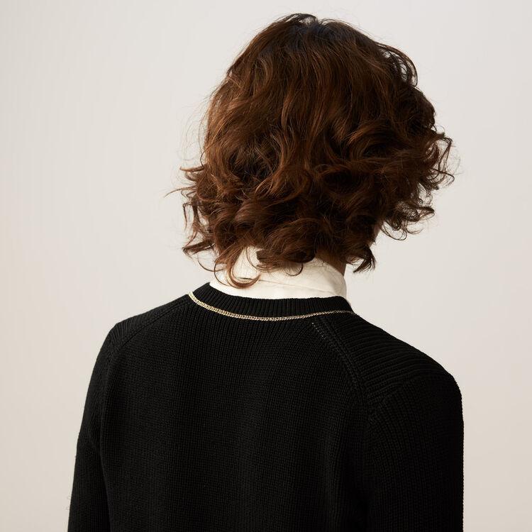 Fine-knit cotton blend vest : Knitwear color Black 210