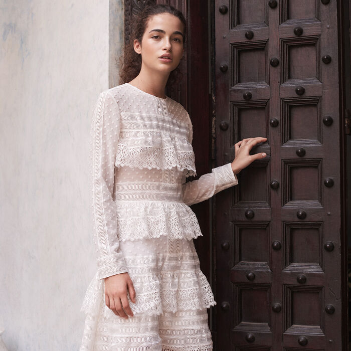Embroidered dress with frills - Summer Collection - MAJE