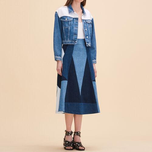Denim flared skirt : Skirts & Shorts color Denim