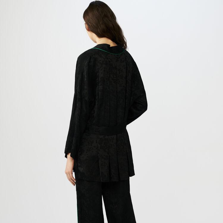 Kimono-style jacquard jacket : Blazers color Black 210