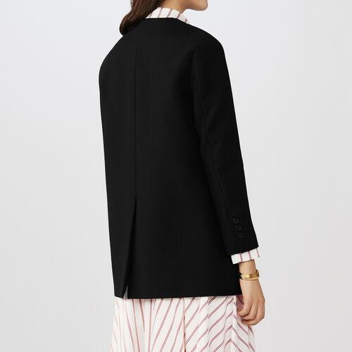 Collarless cotton blend dress jacket : 60% off color Black 210