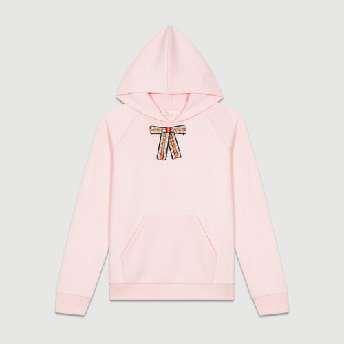 Hooded sweatshirt with removable bow : Knitwear color Pale Pink