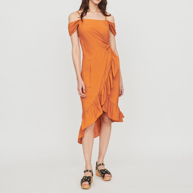 Midi wrap dress with bare shoulders - Summerparty-Robes-IT - MAJE