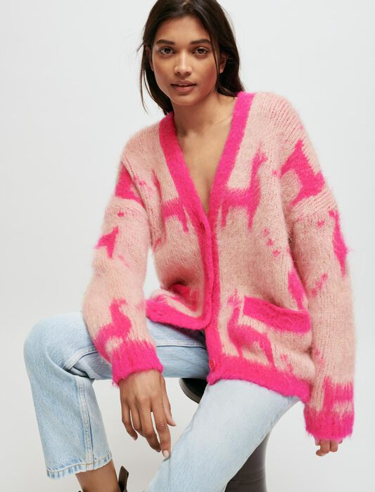 Mohair cardigan with llama pattern : Knitwear color Pink