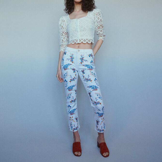 Straight embroidered jeans - Trousers & Jeans - MAJE