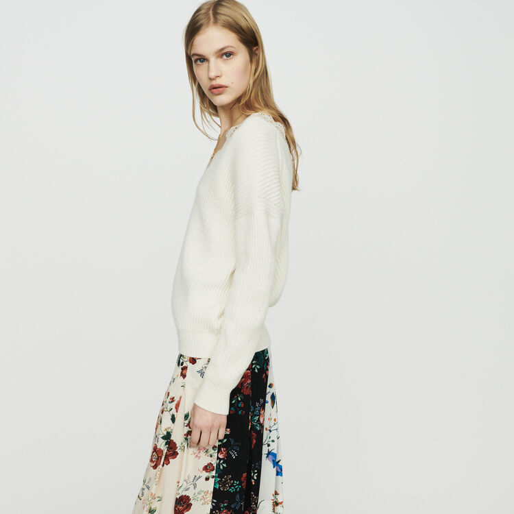 Oversized sweater with lace : Knitwear color Ecru