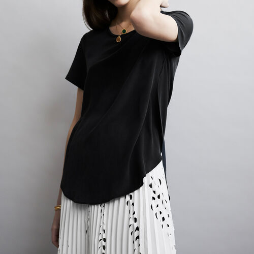 Round neck silk top : Tops color Black 210