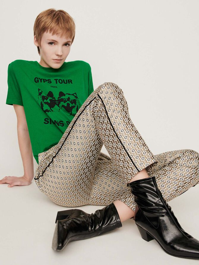 Lurex jacquard pants - Trousers & Jeans - MAJE