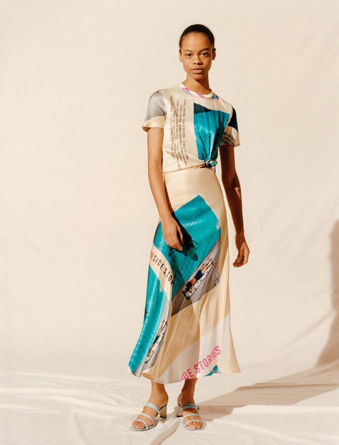 Printed satin tied scarf dress - Eco-friendly - MAJE