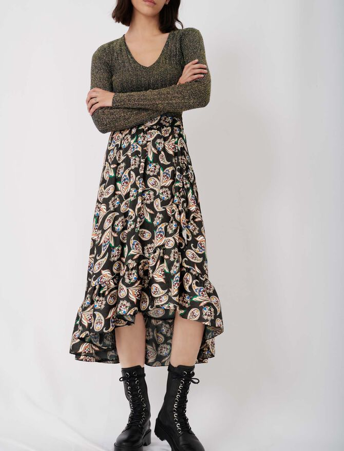 Long printed skirt with ruffles - tout voir - MAJE