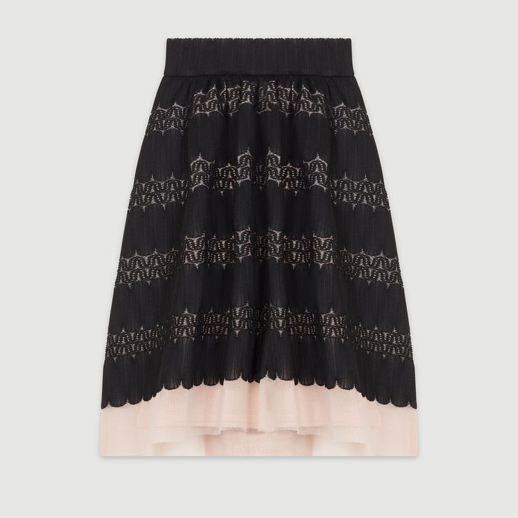 Basket weave and tulle midi skirt : Skirts & Shorts color Black 210