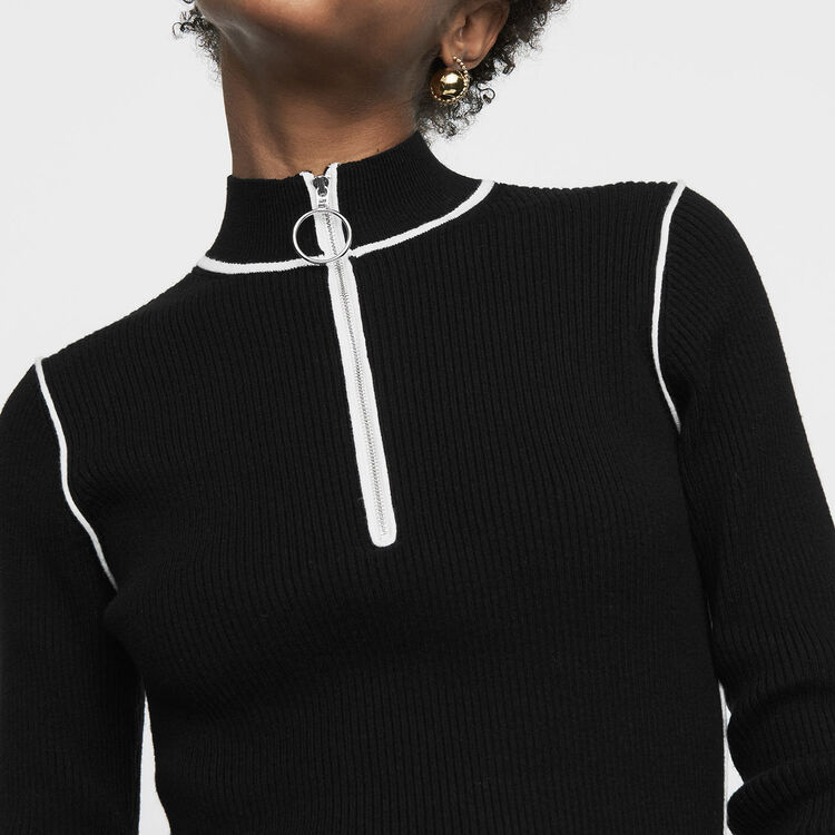 Trucker-collared sweater in fine knit : Knitwear color Black 210