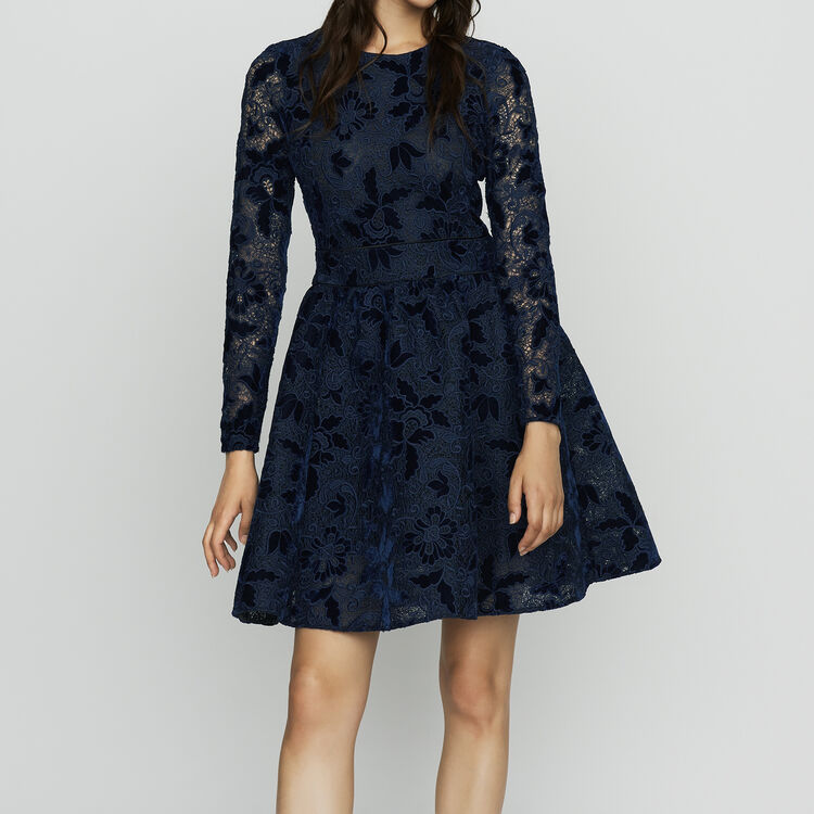 Long-sleeved skater dress in guipure : Dresses color Navy