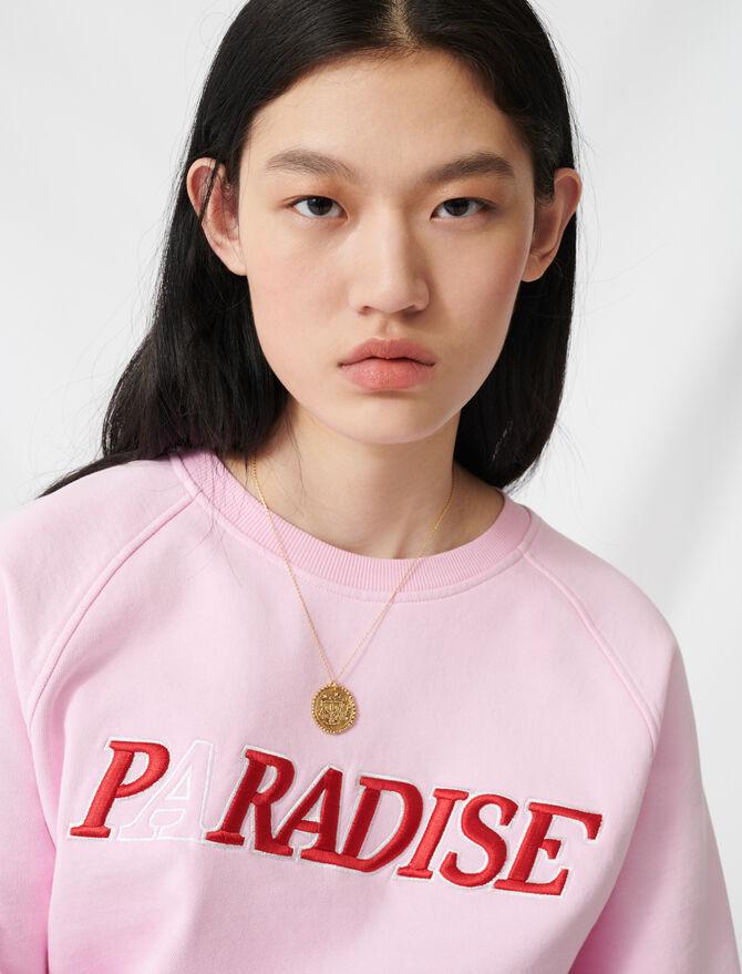 Soft sweatshirt with Paradise embroidery - Knitwear - MAJE