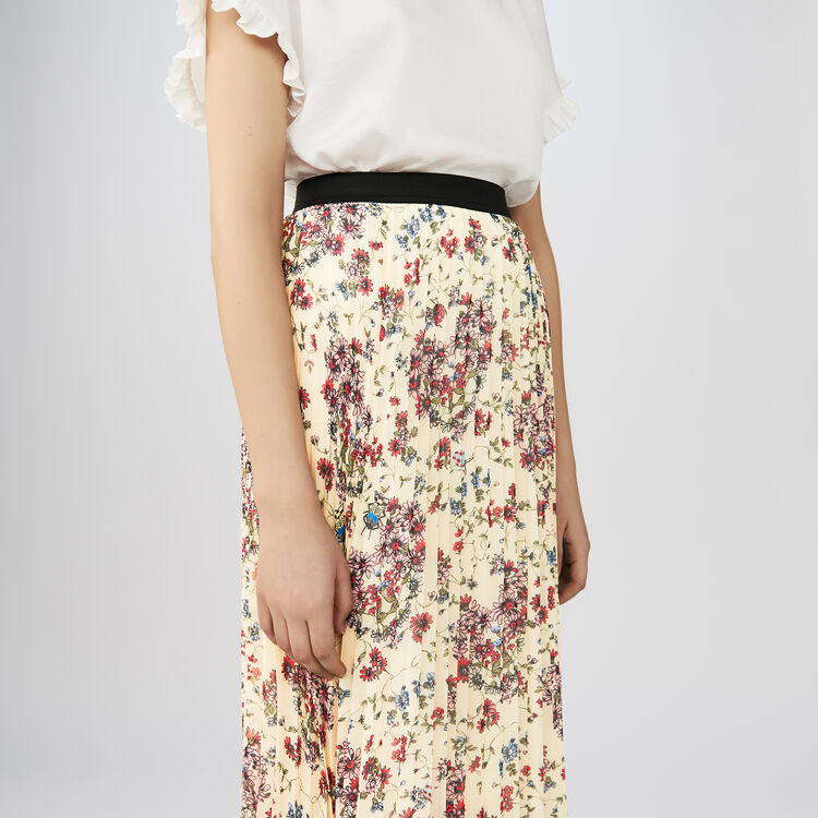 Long pleated floral print skirt : Skirts & Shorts color PRINTED