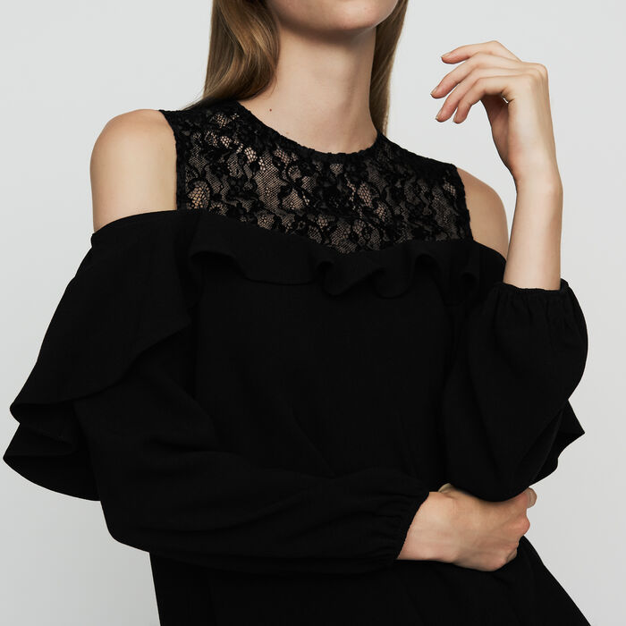 Col-shoulder top in crepe : Tops color Black 210