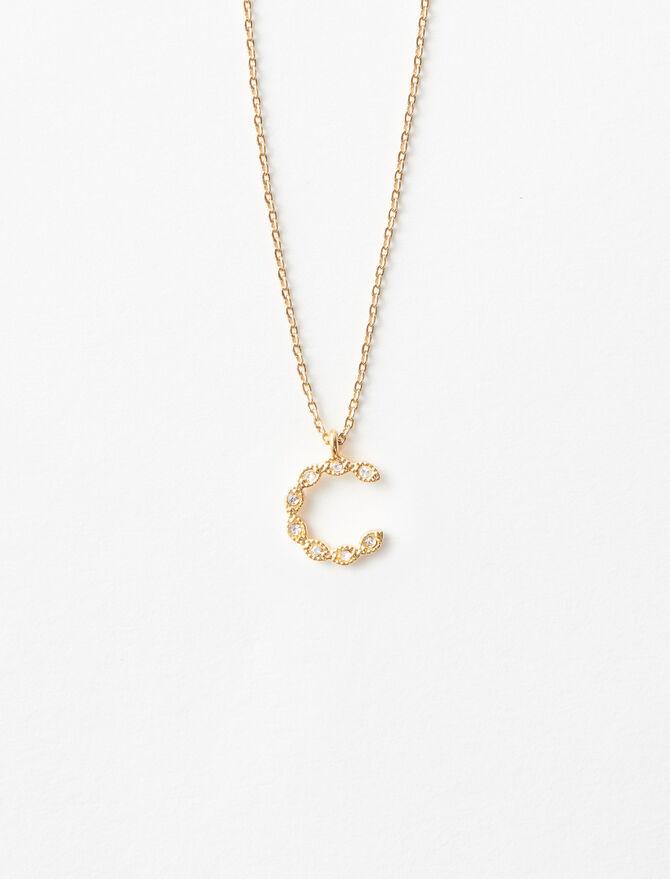 Rhinestone C necklace -  - MAJE