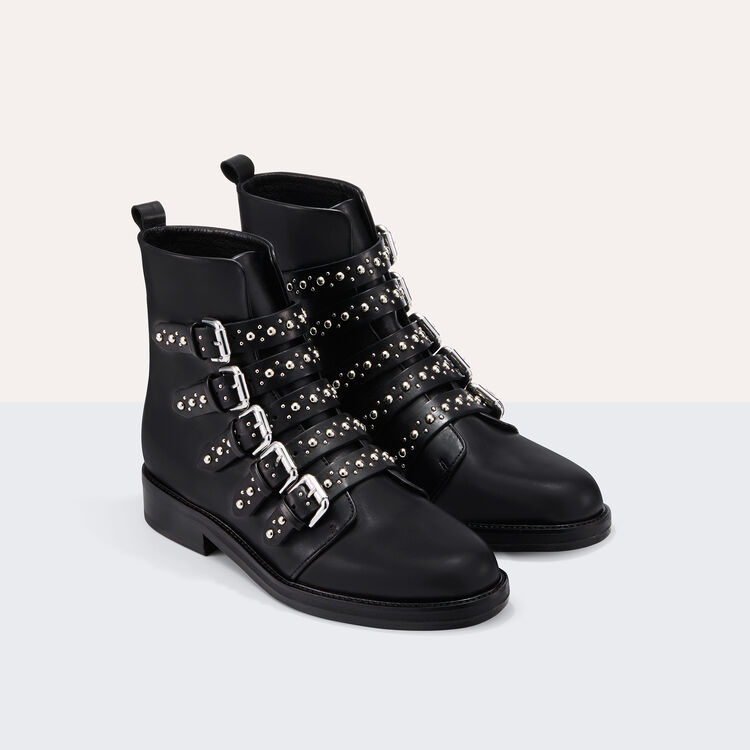 Leather ankle boots with studs : Booties color Black 210